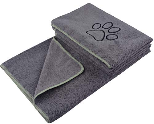 KinHwa super saugfähiges Haustierhandtuch Mikrofaser Hund Badetuch für Hunde und Katzen 76CM x 127CM Grau
