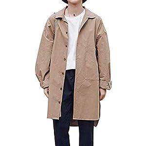 YACORESYA ロングシャツ メンズ ロングコート メンズ ブロードシャツ 膝下丈 長袖 ゆったり 春秋 防風 ビッグシルエット ステンカラーコート 大きいサイズ