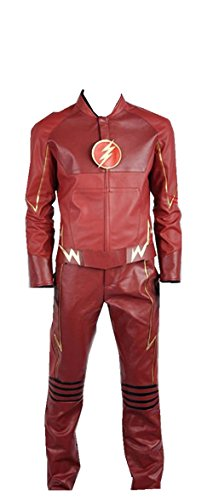 Cosplayfly The Flash Barry Allen PU Kunstleder Battleframe Cosplay Kostüm Jacke Hosen Rot