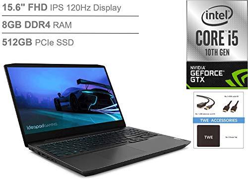 Lenovo IdeaPad 3 15.6' FHD IPS 120Hz Gaming Laptop, i5-10300H, 8GB DDR4, 512GB SSD, NVIDIA GeForce GTX 1650, Backlit Keyboard, Webcam, Bluetooth, HDMI, Windows 10, TWE Accessory Bundle