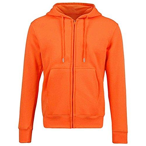 KYEYGWO Sudadera de forro polar con capucha, para hombre y mujer, con cremallera, con bolsillo, monocolor, manga larga, con capucha, para otoño e invierno naranja XL