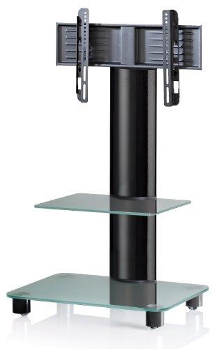 VCM TV-Standfuß LED Ständer Fernseh Standfuss Alu Glas Universal Schwarz VESA Mobil Rollen
