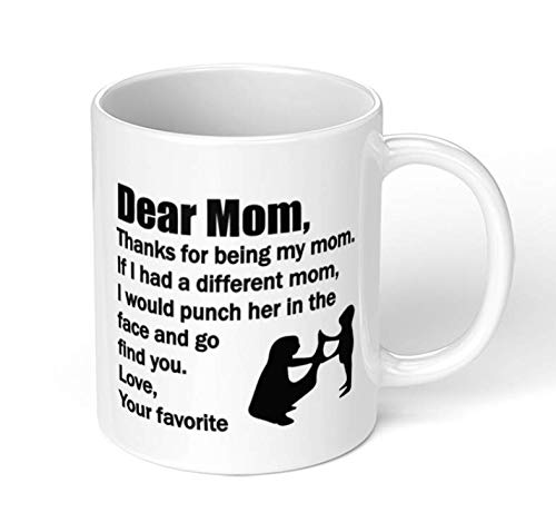 UgyDuky White Dear MOM Coffee Mug Gifts for Mother at Mothers Day from Daughter/Son Unique Ceramic Office Mug Present for Mom Mother Women as Birthday Christmas Mothers Day Gift