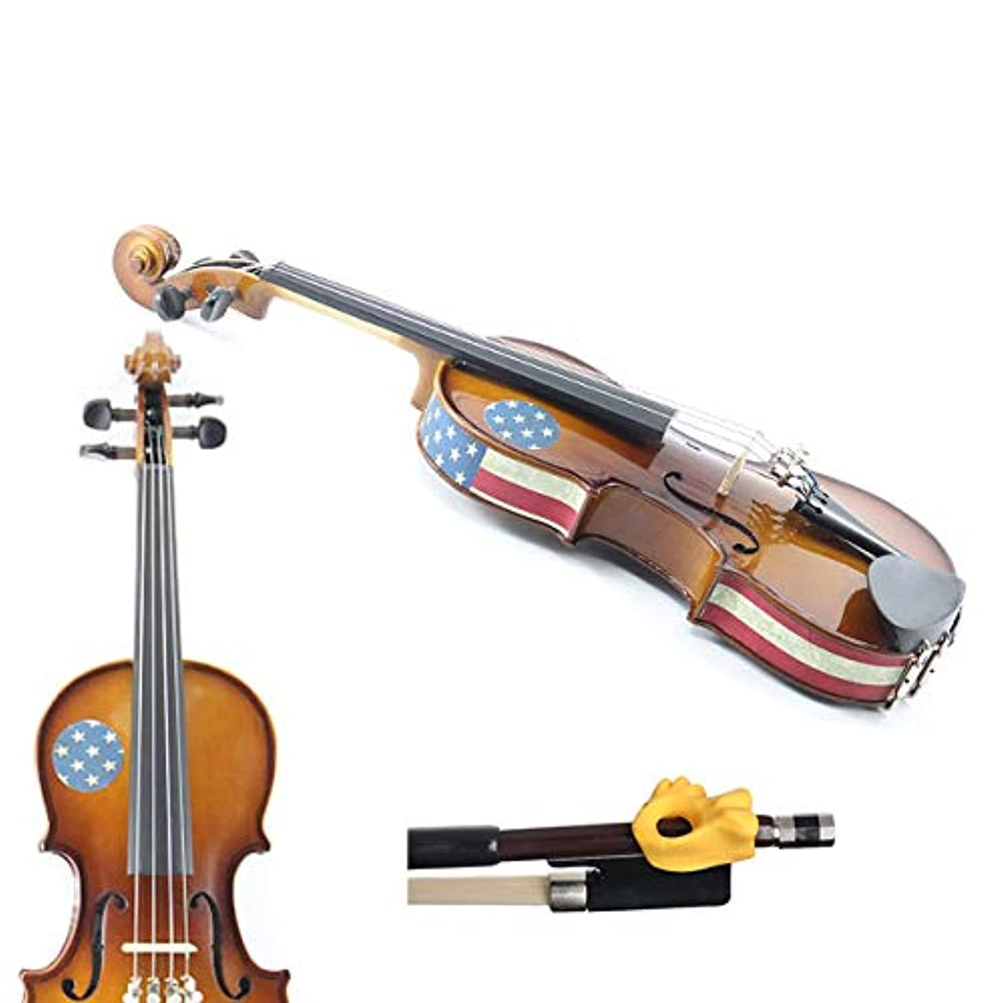 Violin Teaching Aid Pack - Hold Fish Violin Yellow Pinky Support w/American Flag Patriotic Violin Skins - Removable Violin Decals - Fits 1/16 Size Violins (Violin not included)