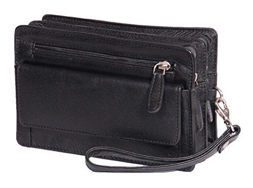 A1 FASHION GOODS Homme poignet Real Sac en cuir d'embrayage Voyage Noir Cab Mobile Money Organisateur Man Bag A210