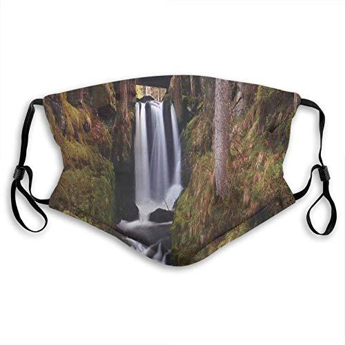 Cascada mágica bajo el viejo puente de madera en el bosque, decoración de la naturaleza exótica, cara M-A-S-K lavable Bandana para adultos hombres mujeres