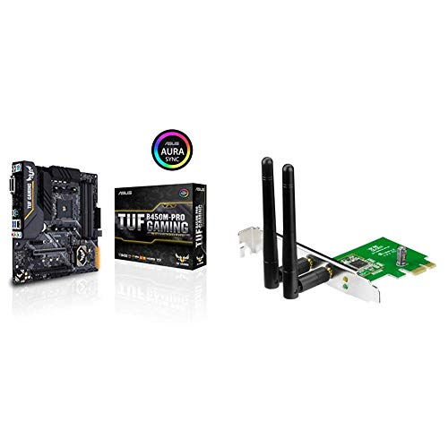Asus TUF B450M-PRO Gaming Zócalo AM4 AMD B450 Micro ATX - Placa Base (DDR4-SDRAM, DIMM, Dual, 64 GB, AMD) + Asus PCE-N15 - Tarjeta de Red Wi-Fi (PCI - E, 802.11 b/g/n, 300 Mbps, WPS)