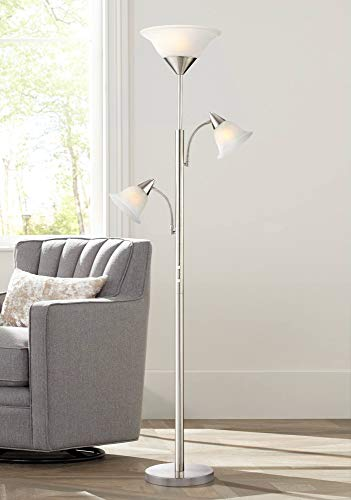 Jordan Brushed Steel Tree Torchiere 3 Light Floor Lamp