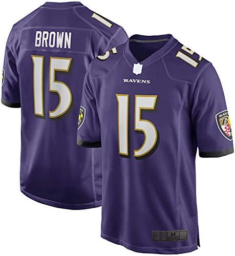 ZQN NFL Jersey, 15 del Jersey del fútbol Americano púrpura, marquesa Baltimore Ravens Juego marrón Jersey del Jugador de Secado rápido al Aire Libre Informal Camisetas,XL