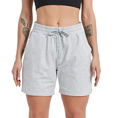 MOMIC Athletic Shorts for Women Loose Fit Workout Deep Pockets Elastic Waistband with Drawstring Comfy Pajama Light Grey