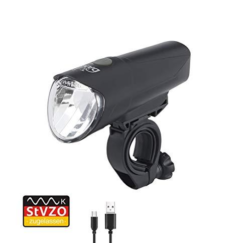 Dansi LED-Akkufrontleuchte, 60/30/15 Lux, StVZO zugelassen, 44012, schwarz