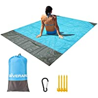 Giverare Waterproof Sandfree Beach Blanket with 4 Stakes & 4 Corner Pockets