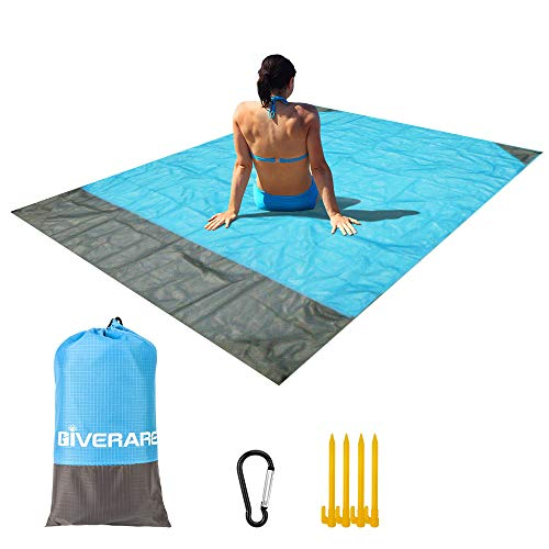 GIVERARE Sandfree Beach Blanket, Waterproof Picnic Blanket, Quick Drying Indoor&Outdoor Family Mat with 4 Stakes&4 Corner Pockets for Travel, Camping, Hiking, Music Festival