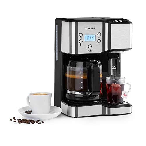 Klarstein Caldetto Kaffeemaschine, Heißwasserspender, bis 1900 Watt Leistung, Kunststoffe und Edelstahl, LC-Display, Warmhalteplatte, 1,8 L Tank Kaffeemaschine, 1,25 L Tank Heißwasser, schwarz