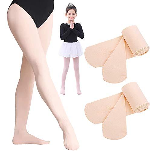Ballett Strumpfhose, Tanzstrumpfhose mit Fuß, für Mädchen Kinder & Damen, Legging Stützstrumpfhose, Strümpfe, 1 Bis 3 Paar (Rosa (Ballett 2 Paar, M(120-140CM)