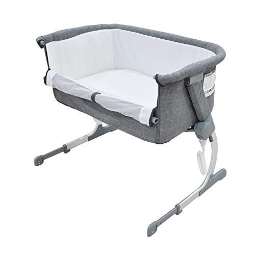 Sale!! Bedside Crib Grey 5 Gear Mode 94 X 69 X 86cm Alloy Steel for 0-24 Months Baby