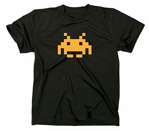 Space Invaders Retro Kult T-Shirt Atari C64 80er Nerd, Schwarz, M