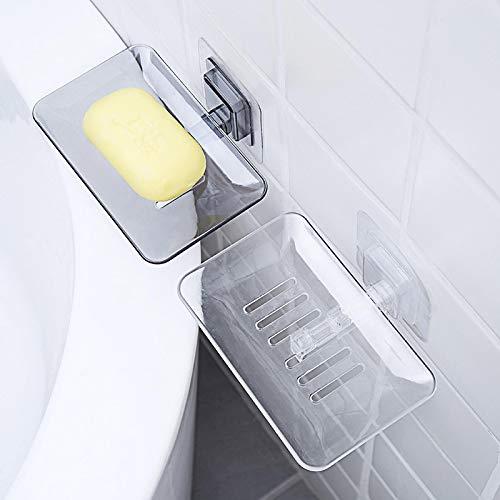 yuery Jaboneras de drenaje montado en la pared de jabón esponja titular de almacenamiento estante de baño organizador de jabón drenaje titular de cocina colgante jabón caja 02