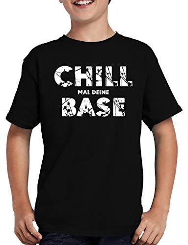 Chill mal Deine Base T-Shirt Kinder Nerd Lustig Fun 134/146 Schwarz
