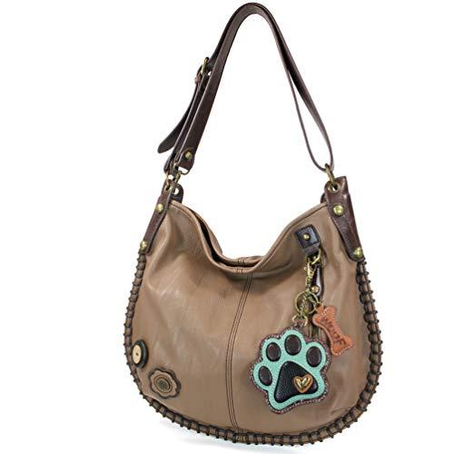 CHALA Crossbody Handbag, Hobo Style, Casual, Soft, Large Bag Shoulder or Crossbody - Brown (Paw Print)