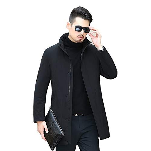 QwarmQ winterjas voor heren, met ganzenpatroon, middellang, wit