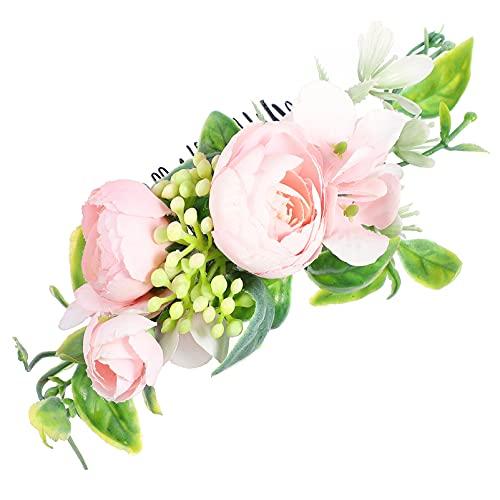 jojofuny Pente de cabelo de camélia, acessório de cabeça de flor de casamento, pente floral com clipe para noivas, damas de honra, festivais de casamento