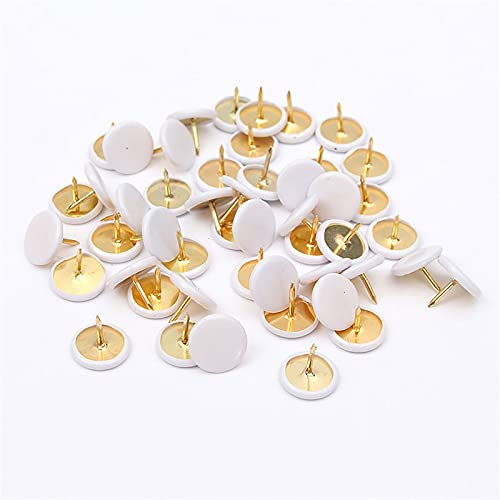 Thumb Tack Push Pins Round Plastic Head Pins Office Thumbtack, Steel Points for Photos Wall, Maps, Bulletin Board or Cork Boards White 100PCS