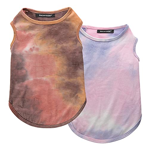 Pachyson Dog Summer Clothes 2 Pack Tie-Dyeing XS Dog Clothes Chihuahua Clothes XX Large French Bulldog Clothes Dog T-Shirts 95% Poly 5% Spandex Breathable Stretch (Tie-Dye Printing, X-Large)