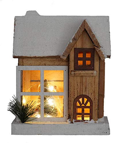 LED Holz Weihnachtshaus 26 cm - Weihnachtsdeko Haus 5 LED - Deko Holzhaus Winterhaus beleuchtet