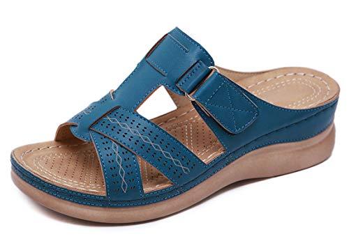 CELANDA Ciabatta Estiva Donna Pantofole in Pelle Sandali Punta Aperta Comodi Ciabatte Piattaforma moda Infradito da Spiaggia Flip Flops Blue Taglia: 37 EU