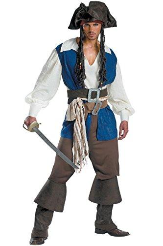 Manfis Disfraz de pirata  Capitn completo, 7 piezas, para hombre, color azul, talla M