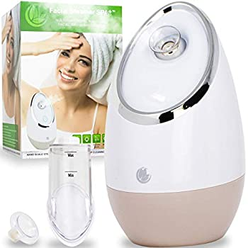 Facial Steamer SPA+ by Microderm GLO - Best Professional Nano Ionic Warm Mist Home Face Sauna Portable Humidifier Machine Deep Clean & Tighten Skin Daily Hydration for Maximum Serum Absorption