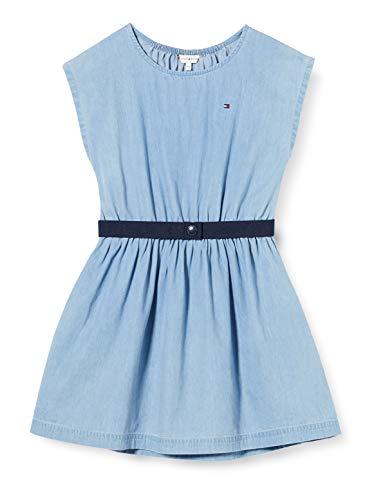 Tommy Hilfiger Weight Dress S/s Vestido, Azul (Denim Light 01 1aa), 16 años (Talla del Fabricante: 16) para Niñas