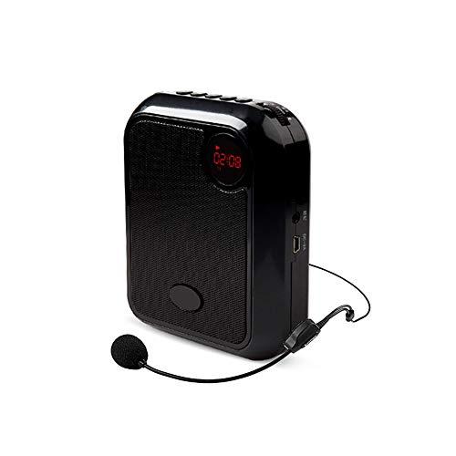 JKGHK Amplificador de Voz Auriculares con micrófono inalámbrico 10W 2200mAh Altavoz portátil para aulas, reuniones, promociones,Negro
