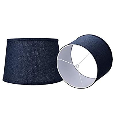 Double Medium Navy Blue Lamp Shades Set of 2, Alucset Drum Fabric Lampshades for Table Lamp and Floor Light,10x12x8 inch,Natural Linen Hand Crafted,Spider (Navy Blue, 2 pcs Pack)
