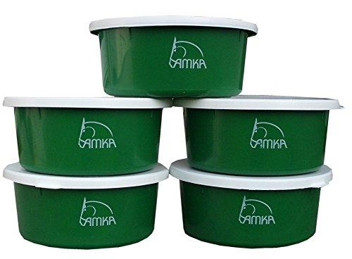 Reitsport Amesbichler AMKA Futterschale Müslischale Leckschüssel 5er Set 2 Liter mit Deckel Futterschüssel Wasserschüssel für Pferde, Hunde Tiere, grün