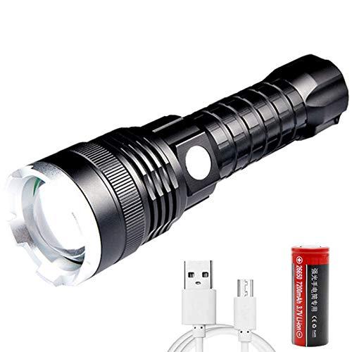 Linterna LED XHP70 Alta Potencia Super Brillante 10000 Lúmenes, Recargable Militar Linternas de 5 Modos, Zoomable, Impermeable para Ciclismo Montañismo Camping Con batería