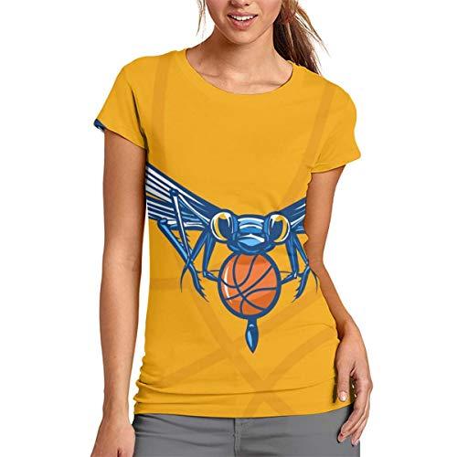 Insect Mascot Dragonfly - Camiseta de manga corta para mujer, cuello redondo, cómoda, poliéster, Blanco, Small