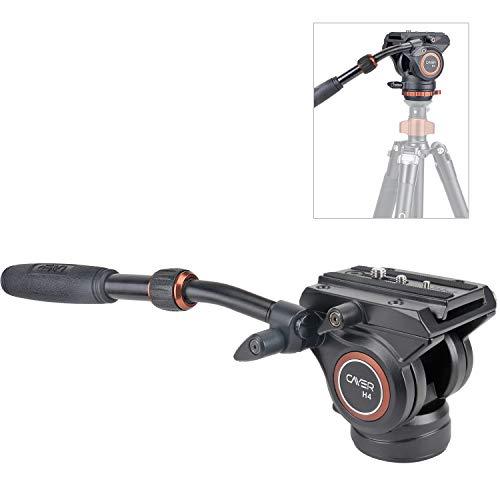 """Cabezal de Fluido, trípode de cámara de Video Cayer H4 Cabezal de Arrastre de Fluido para cámara Canon Nikon Sony Olympus Panasonic DSLR, con Tornillo de Montaje de 3/8""""y 1/4"""", manija de 2 Secciones"""