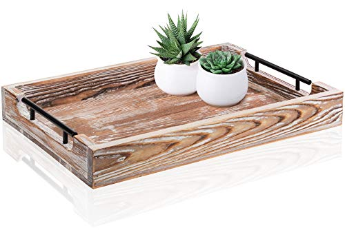 Large Ottoman Tray with Handles - 20'x14' - Coffee Table Tray - Rustic Tray for Ottoman - Wooden Trays for Coffee Table - Wooden Serving Trays for Ottomans - Ottoman Trays Home Decor - Farmhouse Tray