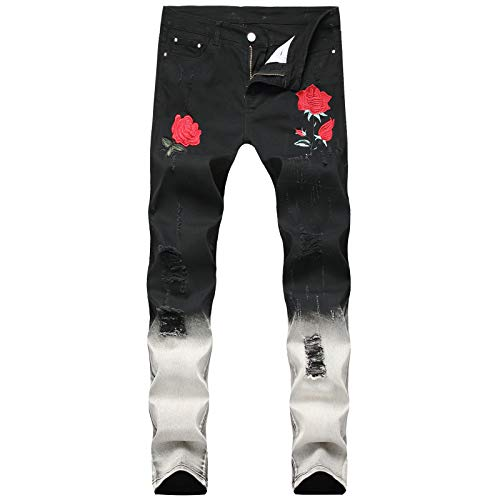 Jubaton Men's Pants Street Wear Hole Gradient Classic Embroidery Printing Jeans Walking Daily Working Trousers Work Pants 32 Black
