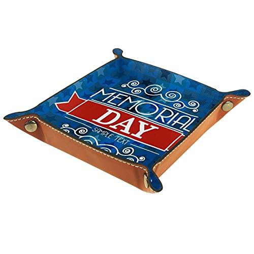 XiangHeFu Bandeja de Cuero Tarjeta de Día Memorial sobre Azul Almacenamiento Bandeja Organizador Bandeja de Almacenamiento Multifunción de Piel para Relojes,Llaves,Teléfono,Monedas
