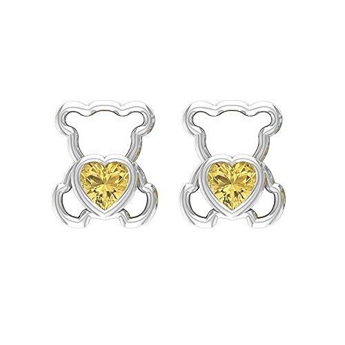 Pendientes de tuerca con diseño de oso de peluche de 3/4 quilates con citrino (4 mm de corte en corazón), con parte trasera de rosca, Metal, Citrine,