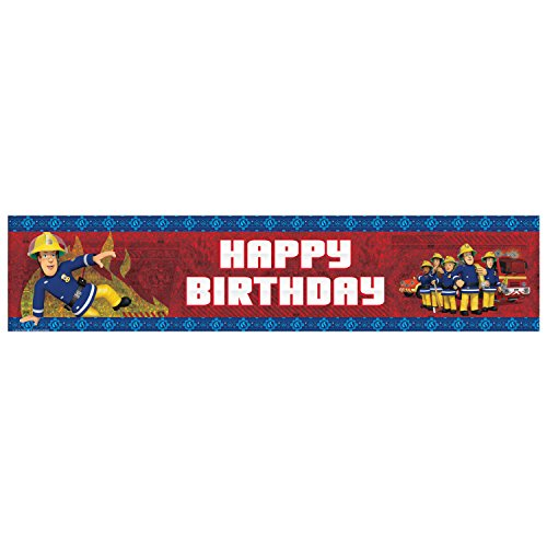 Amscan International 9902181 2,7 m x 20 cm Feuerwehrmann Sam Happy Birthday holografisches Banner