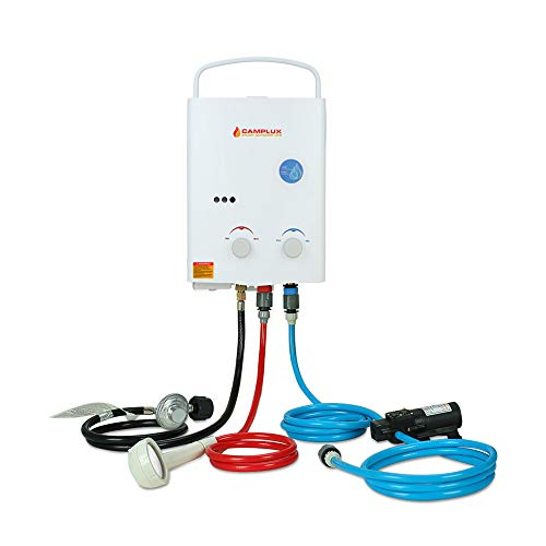 Camplux 5L Portable Water Heater Outdoor,1.32 GPM Propane Gas Tankless Water Heater With 1.2 GPM Water Pump