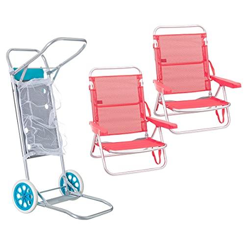 Pack de 2 sillas de Playa Coral de Aluminio y textileno y Carro portasillas Nuevo y Mejorado - LOLAhome