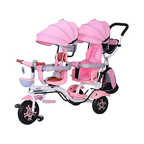 TQJ Cochecito de Bebe Ligero Doble De Niños Del Triciclo 4 En 1 Trike, Doble Cochecito Comfort Two-Asiento De 3 Ruedas De Bicicletas For Niños Con Giratoria, Infantil Del Niño Del Bebé De La Carretill