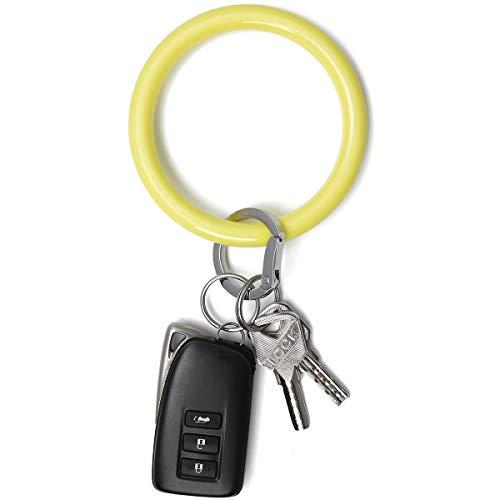 Townshine Llavero de pulsera, pulsera, llavero, 3.8 pulgadas, llavero redondo de silicona suave para coche llavero soporte para mujeres, Amarillo (Amarillo), Medium