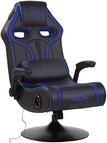 Poltrona Gaming Sonoma Con Sistema Bluetooth E Altoparlante Musica Integrato I Sedia Lounge Gamer Girevole In Similpelle Con Porta USB, Colore:nero/blu