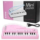 Tnfeeon Mini Teclado de Piano eléctrico de 31 Teclas para niños, Juguete de Instrumento Musical de Piano de Cola de luz Colorida Bluetooth(Rosado)